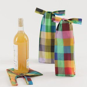 Wine Baggu Set of 3 in Madras Mix